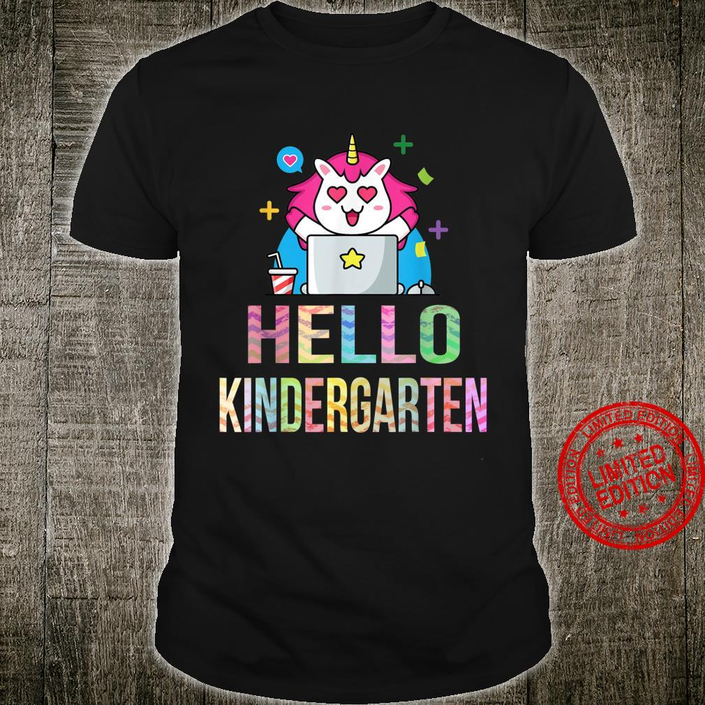 1st Day Of Virtual Kindergarten Unicorn Hello Kindergarten Shirt