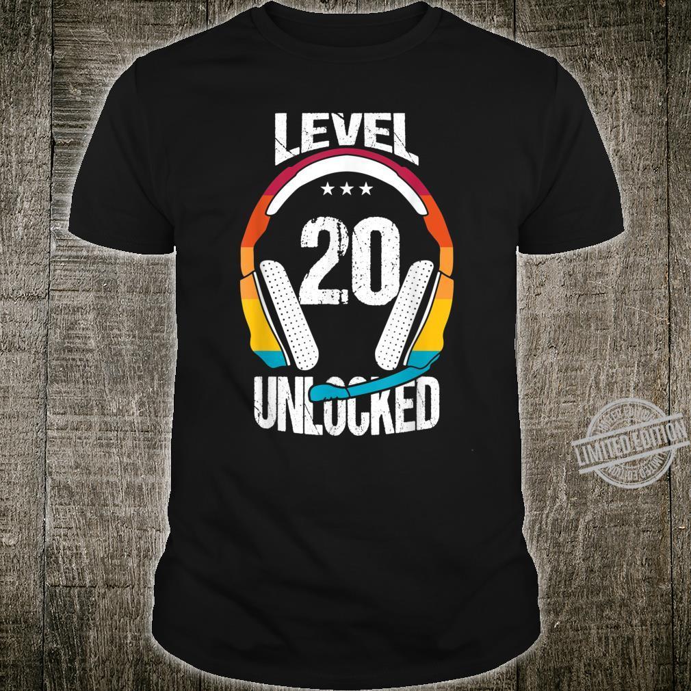 20th Birthday Cool Gamer Boys Level 20 Unlocked Shirt