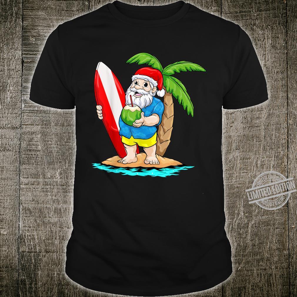 Christmas in July Shirt Santa Hawaiian Surfing Summer Surf Shirt