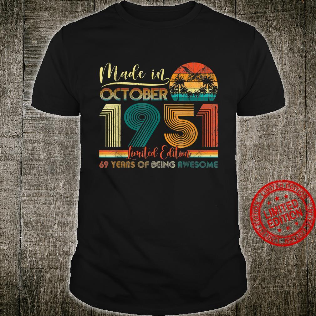 Classic October 1951 Shirt 69th Birthday 69 Years Old Shirt