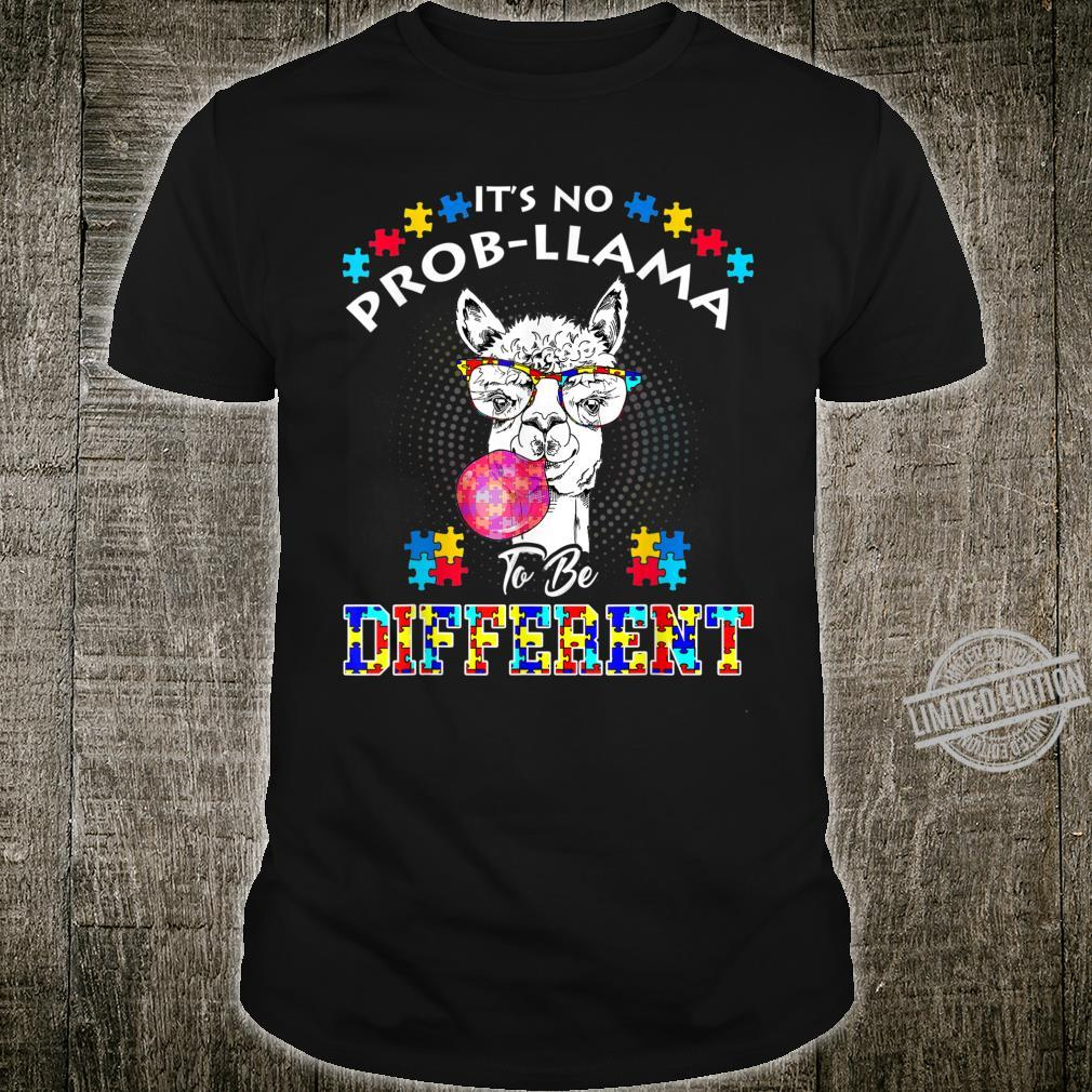 Cute It's No Prob Llama To Be Different Autism Shirt