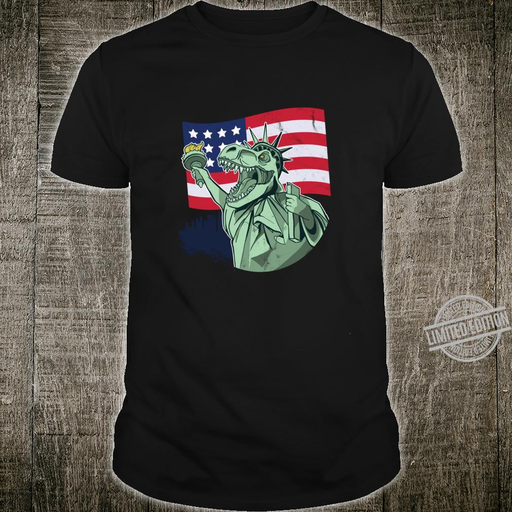 Funny 4th of July T Rex Patriotic Dinosaur with Flag Shirt