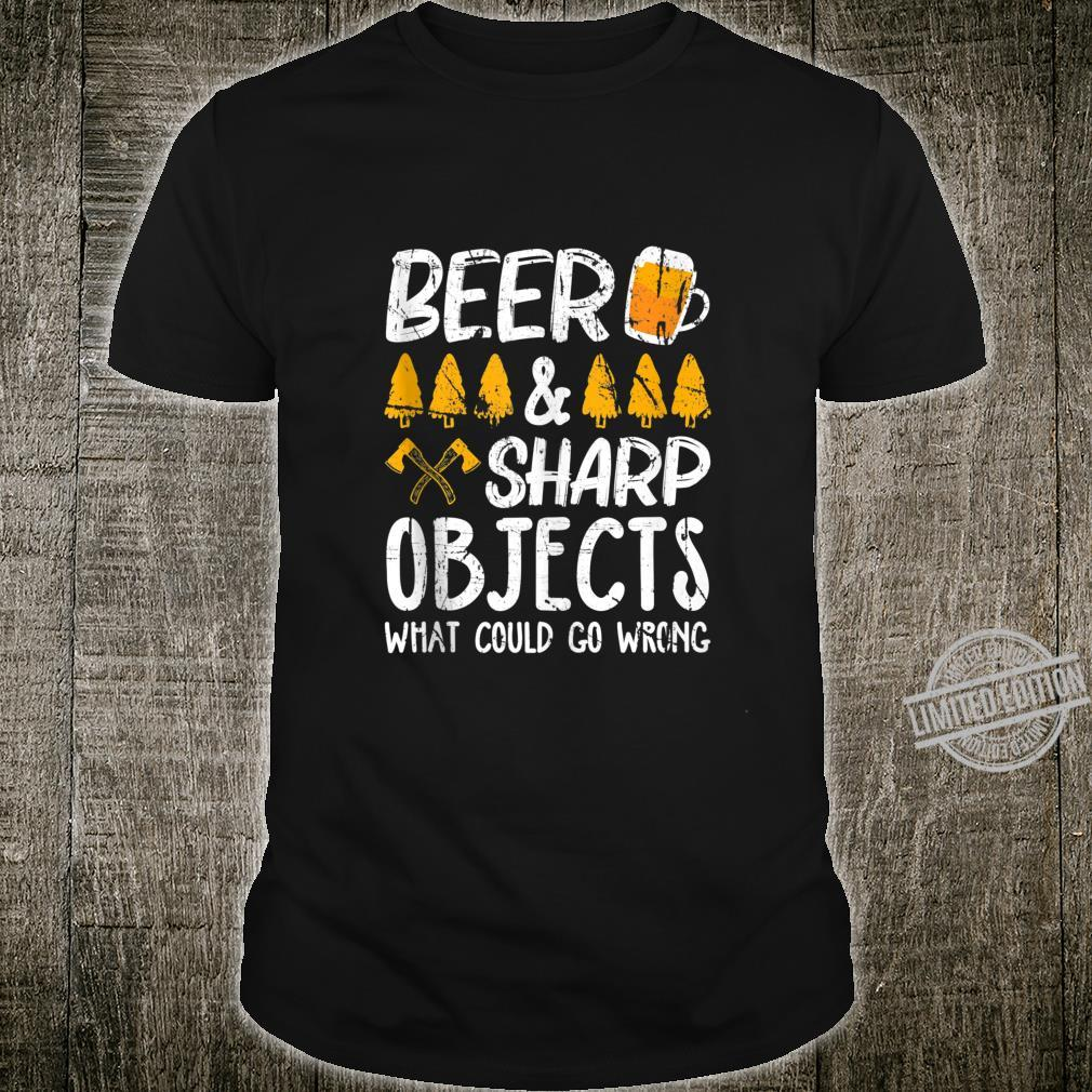 Funny Beer & Sharp Objects What Could Go Wrong Distressed Shirt