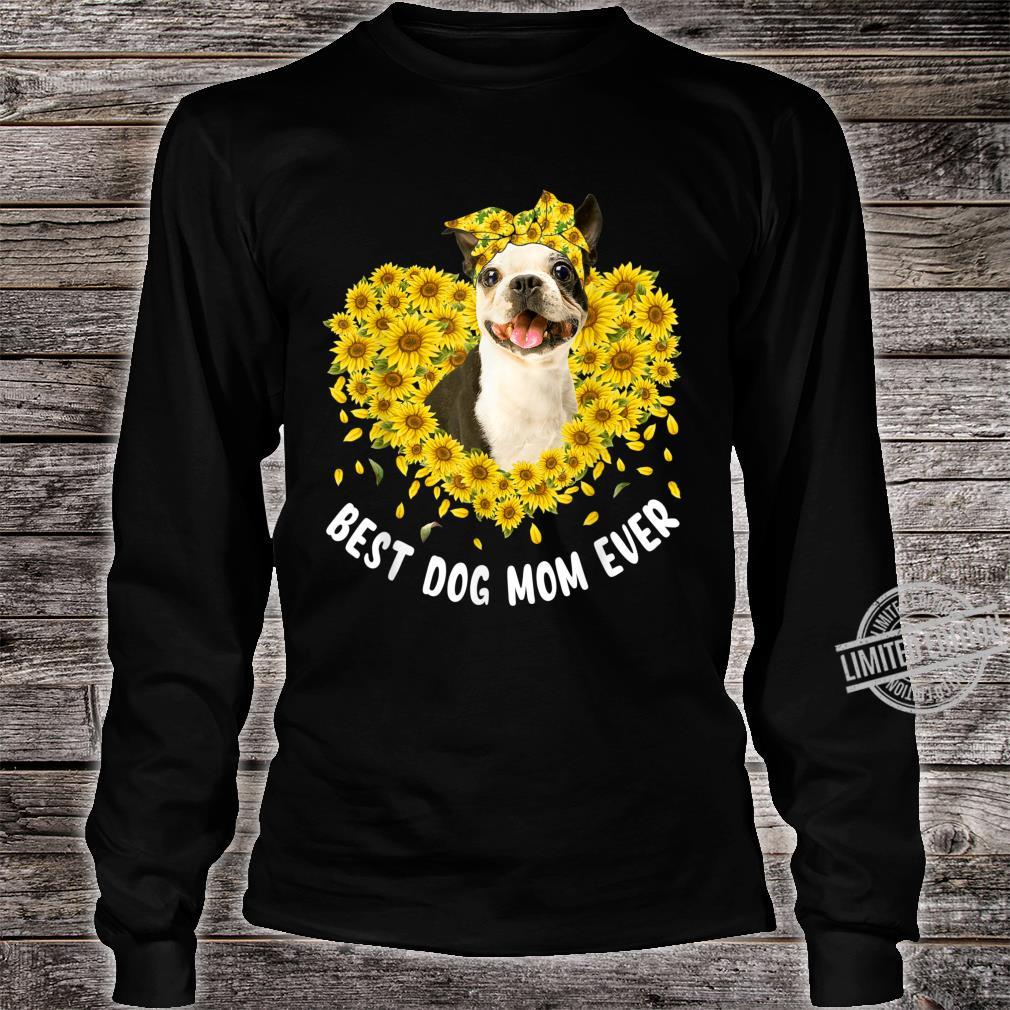 Funny French Bulldog Mom Loves Sunflower Mother's Day Shirt long sleeved