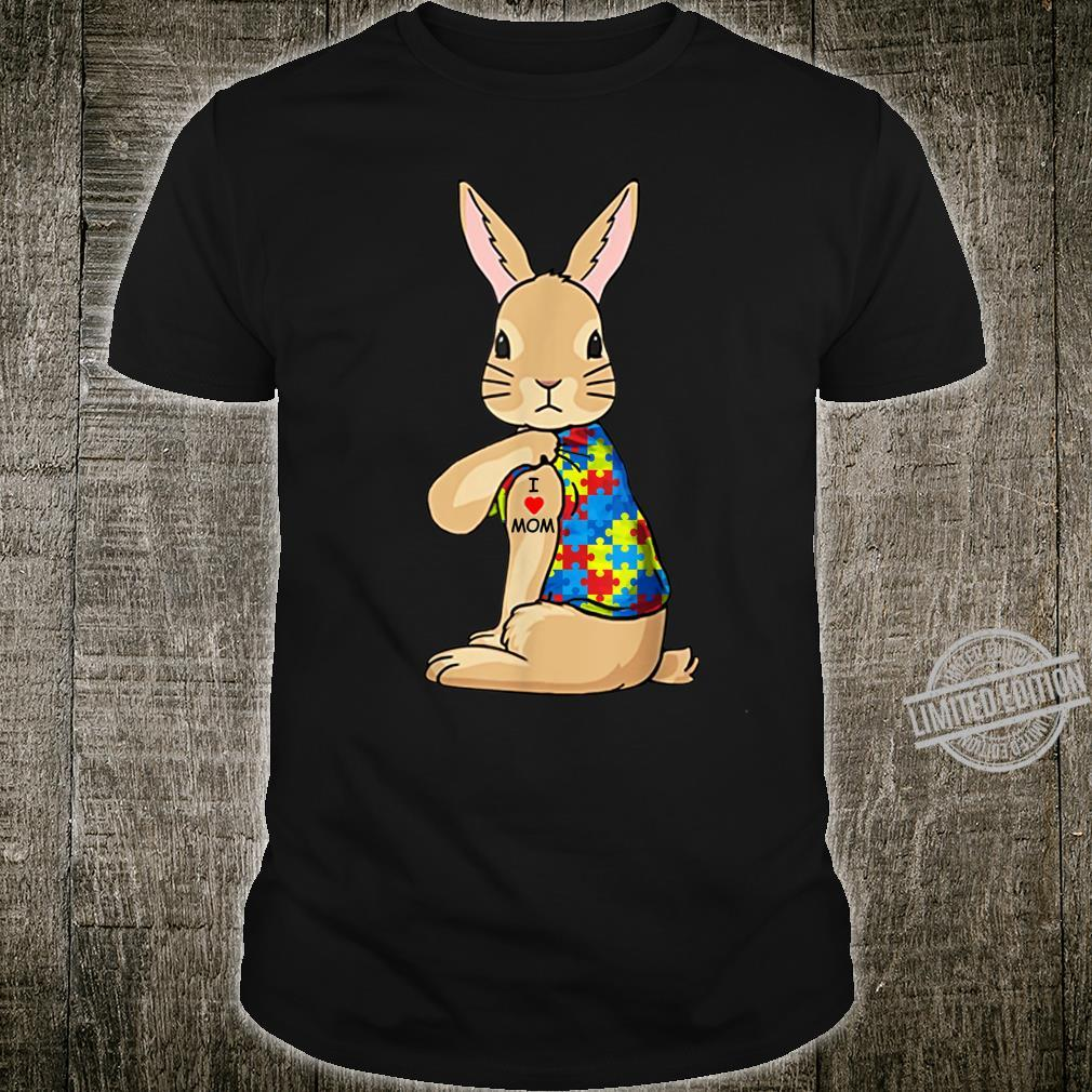 I Love Mom Rabbit Wearing Puzzle Ribbon Autism Awareness Shirt