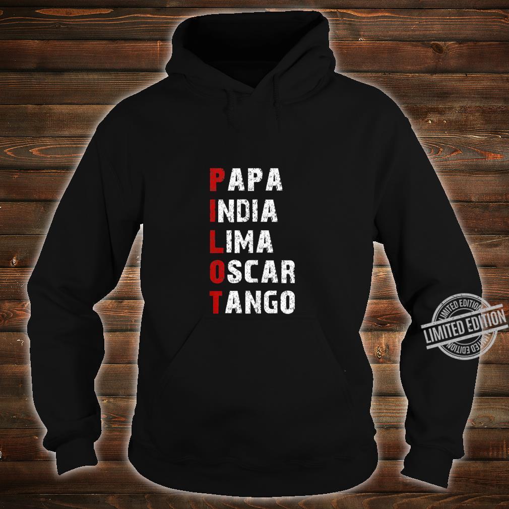 Phonetic Alphabet Pilot Papa India Lima Oscar Tango Shirt