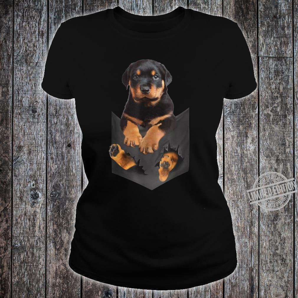 Rottweiler Puppy Cute in Pocket Dog Mother's Day Shirt ladies tee