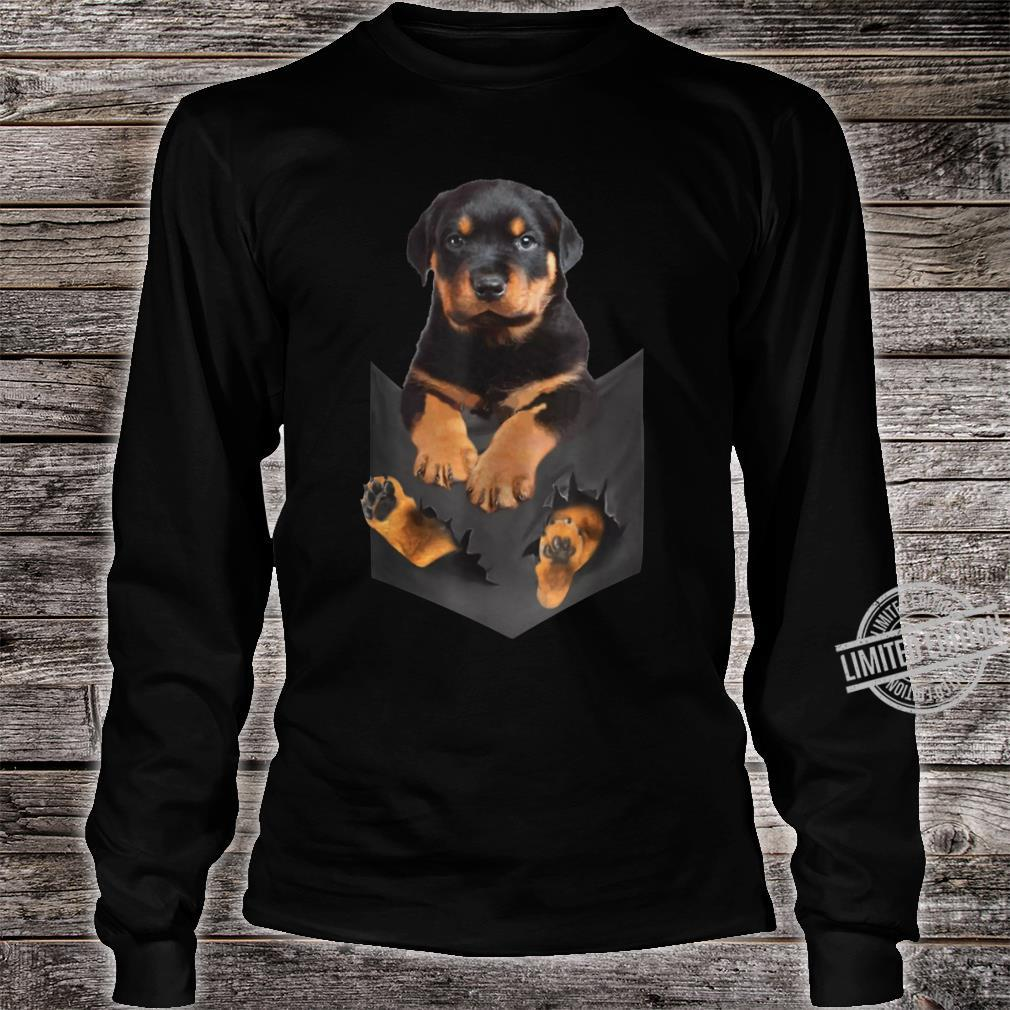 Rottweiler Puppy Cute in Pocket Dog Mother's Day Shirt long sleeved