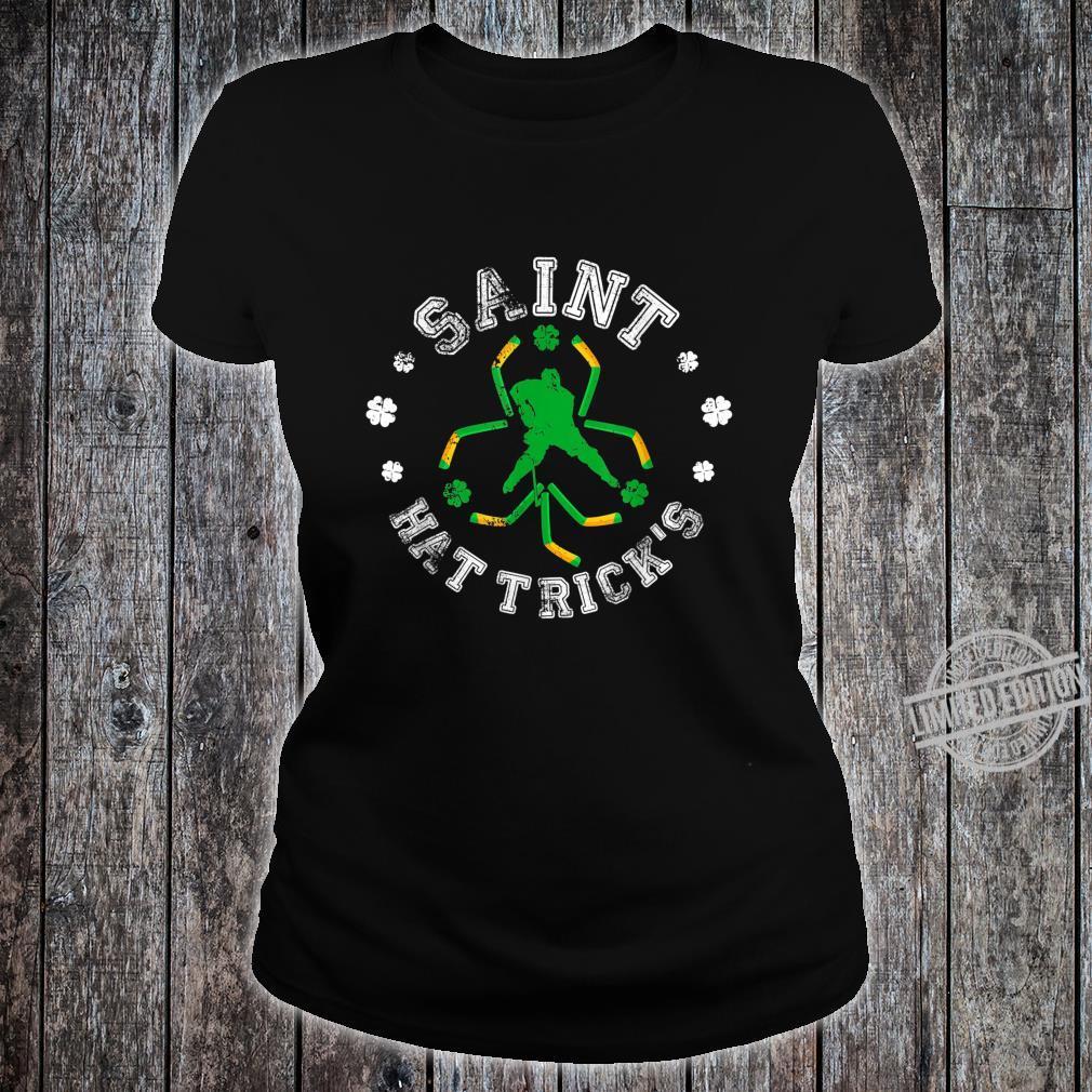 Saint Hat Trick's Ice Hockey St Patrick's Day Shamrock Shirt ladies tee