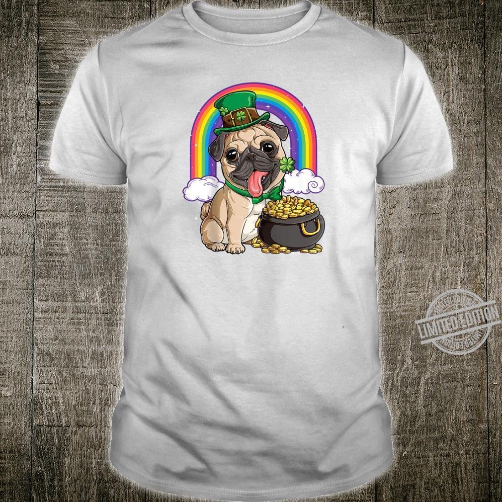 St Patricks Day Irish Pug Dog Boys Irish Flag Shirt
