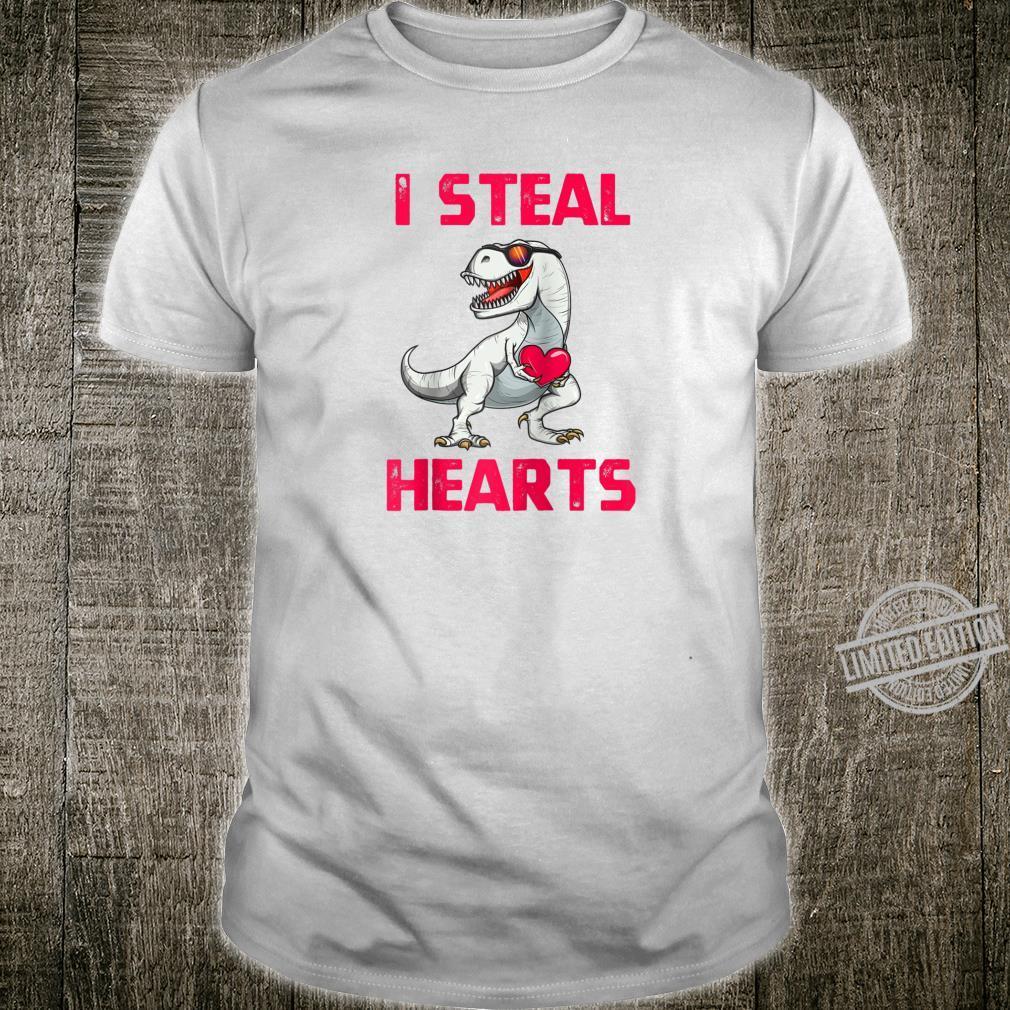 Valentine's Day I Steal Hearts Dinosaur T Rex Shirt