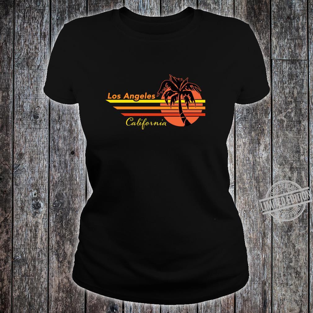 Vintage Los Angeles California Sunset and Palm Tree Souvenir Shirt ladies tee
