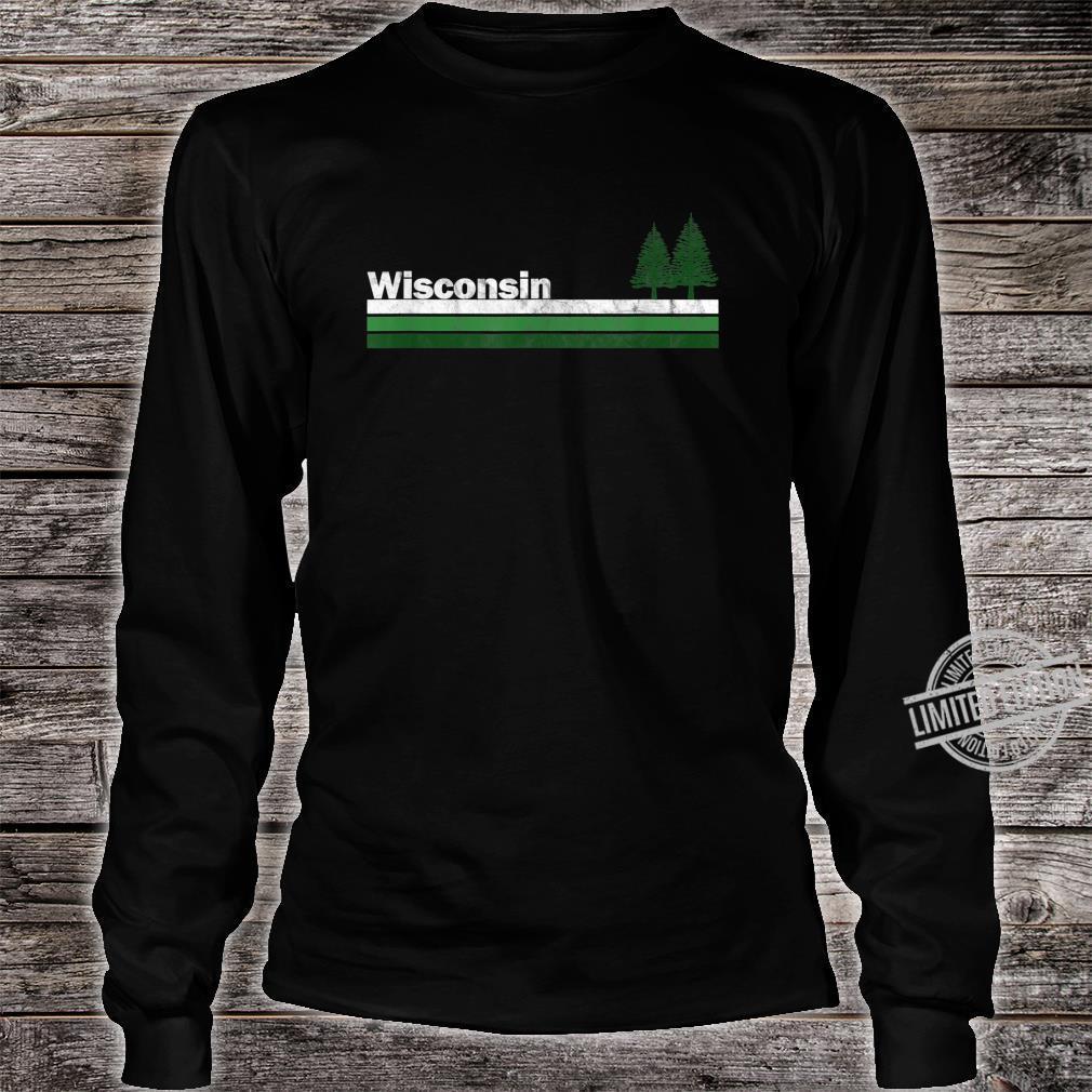 Wisconsin Vintage Retro 70s 80s Pine Tree Shirt long sleeved
