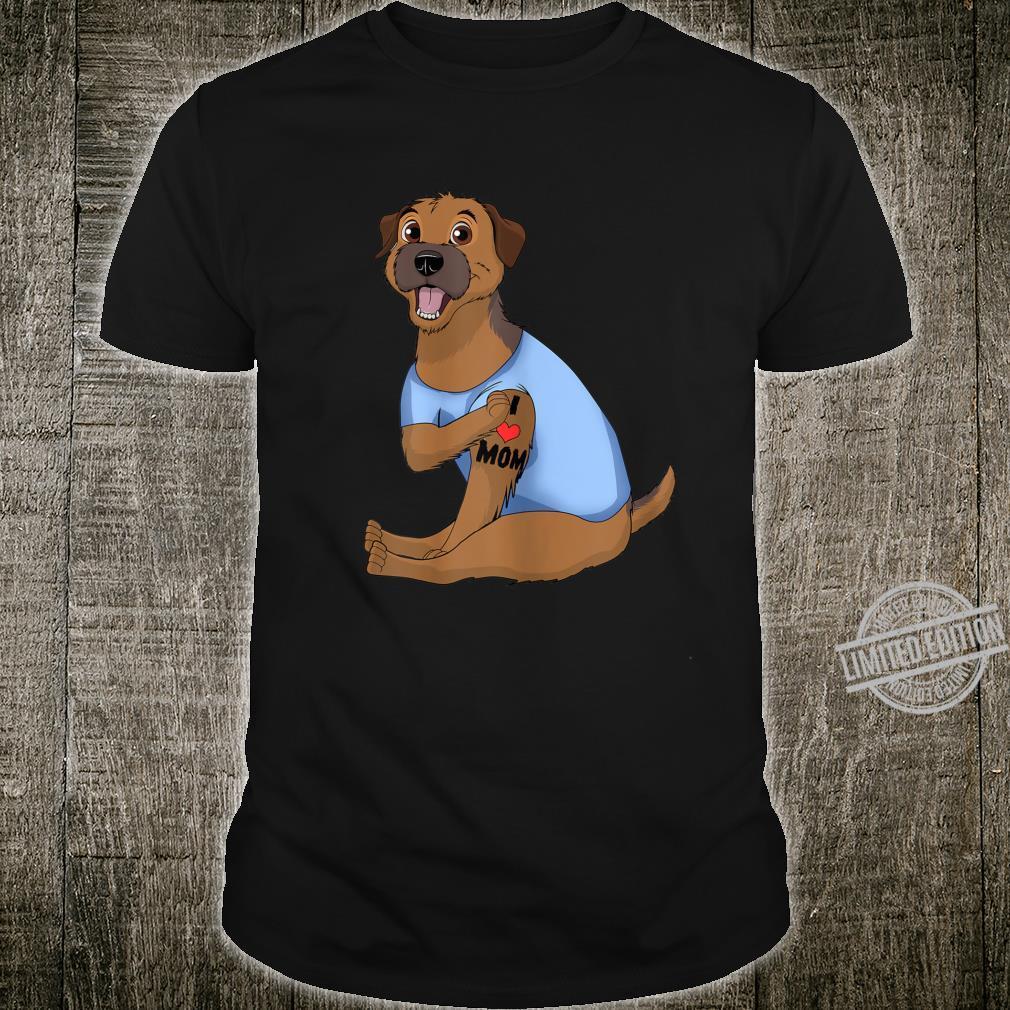Womens Dog Border Terrier Love Mom Tattoo Shirt