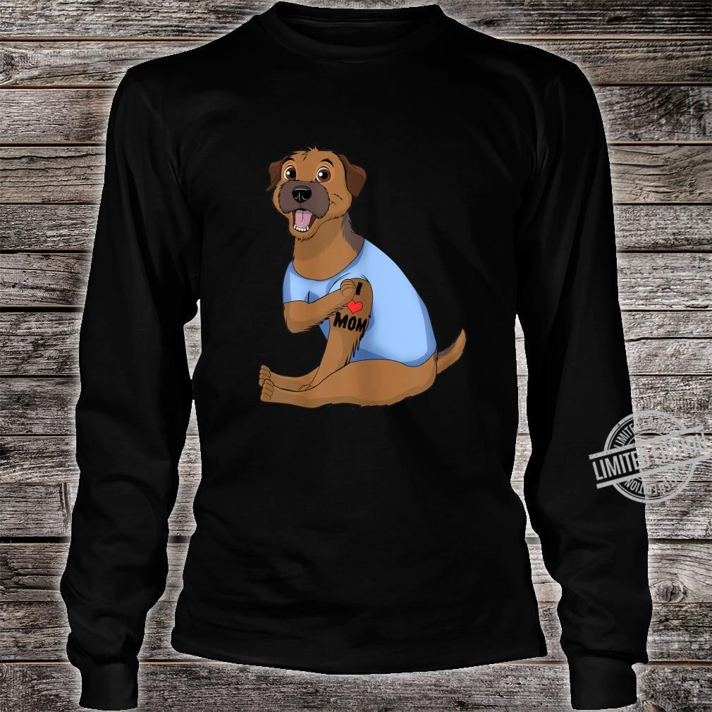 Womens Dog Border Terrier Love Mom Tattoo Shirt long sleeved